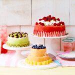 Fresh fruit cakes on display