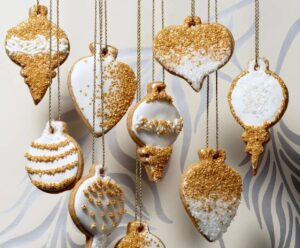 honey cinnamon cutout cookies with gold sugar