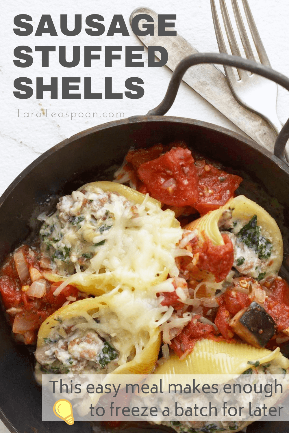 Sausage stuffed shells pin with tip