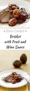 Slow Cooker Brisket With Fruit and Wine Sauce long pin image