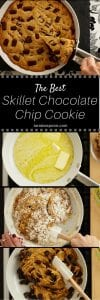 The Best Skillet Chocolate Chip Cookie long pin image