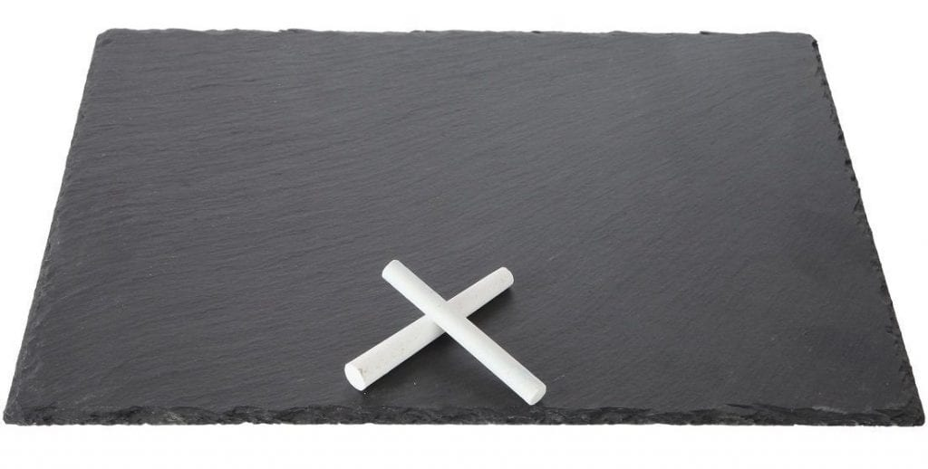 black slate tray with chalk