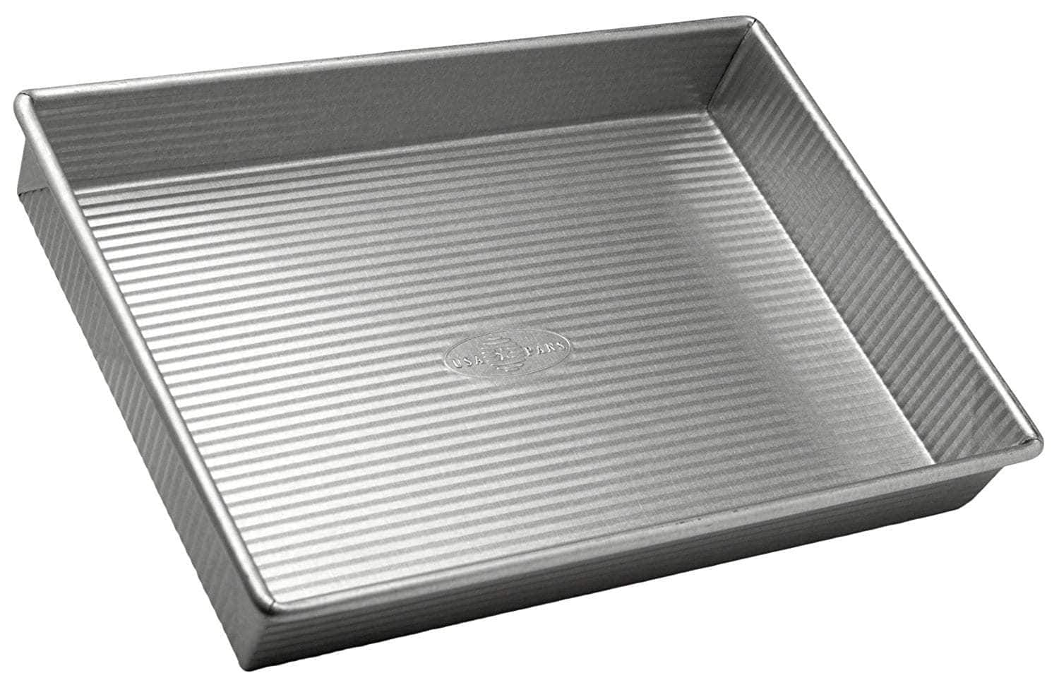 9 by 13 inch silver pan on white