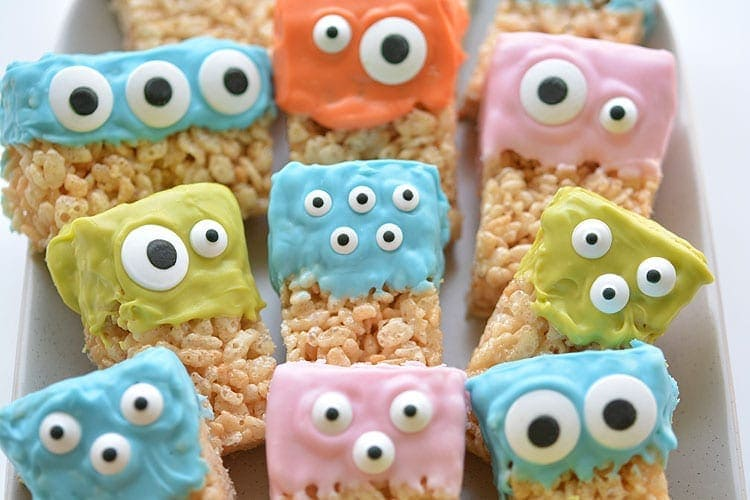 Monster face rice krispy treats