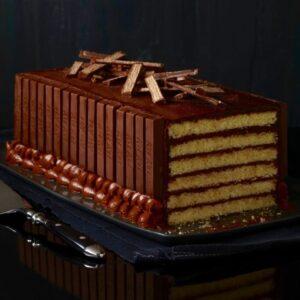 Kit Kat Cake Halloween missing a slice side view
