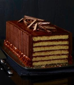yellow cake and kit kat candy on a platter