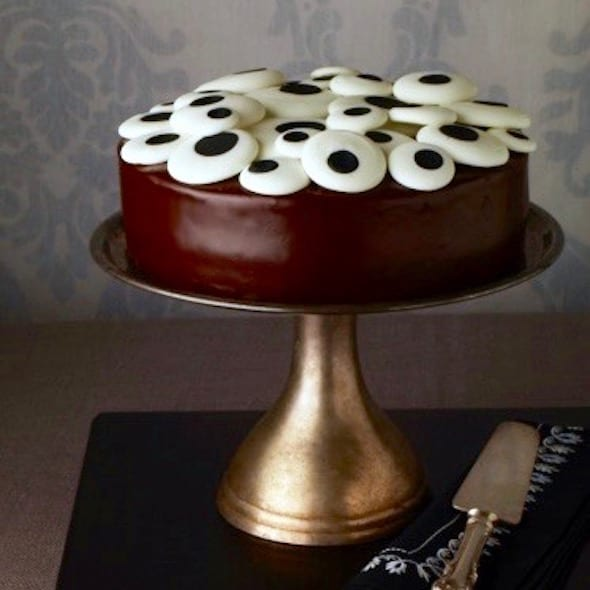 eyeball cake on a silver cake stand