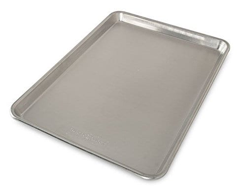 silver half sheet pan on white