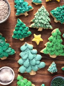 Almond Ginger Cookies with Ginger Cream Cheese Frosting trees