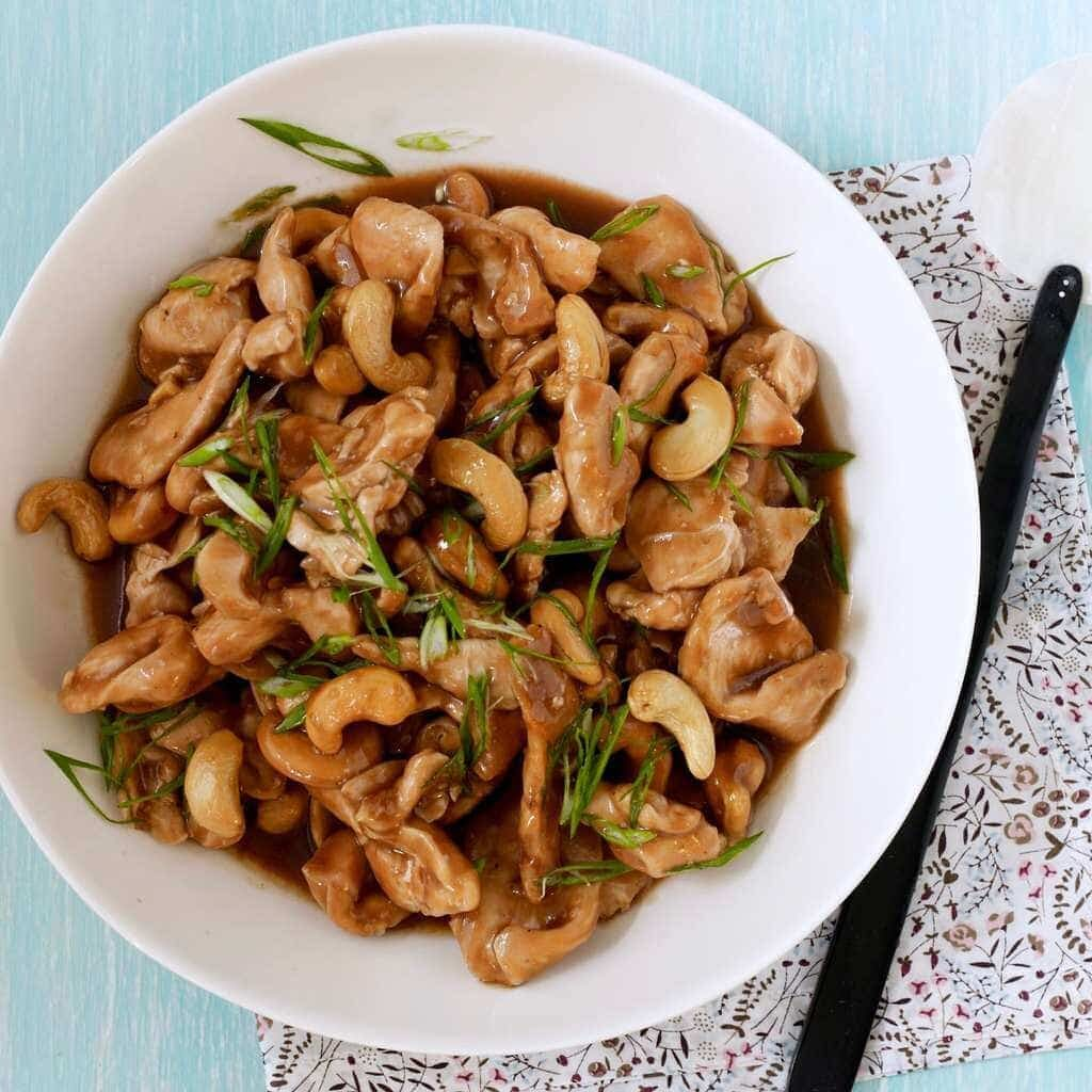 Cashew Chicken feature in a white bowl