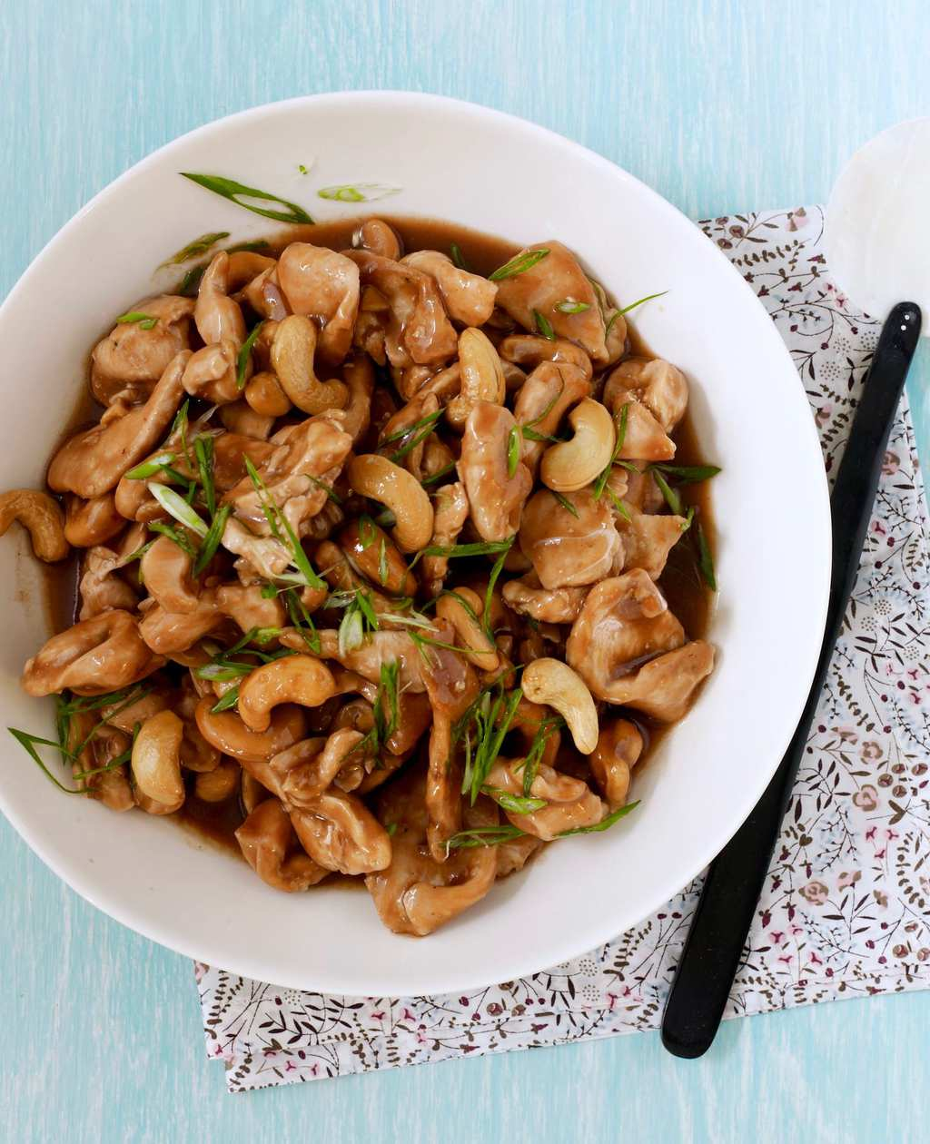 Cashew Chicken at home in white serving bowl