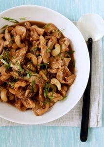 Cashew Chicken at home on a blue table