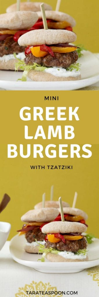 These Mini Greek Lamb Burgers with Yogurt Sauce are delicious for a party or weeknight dinner