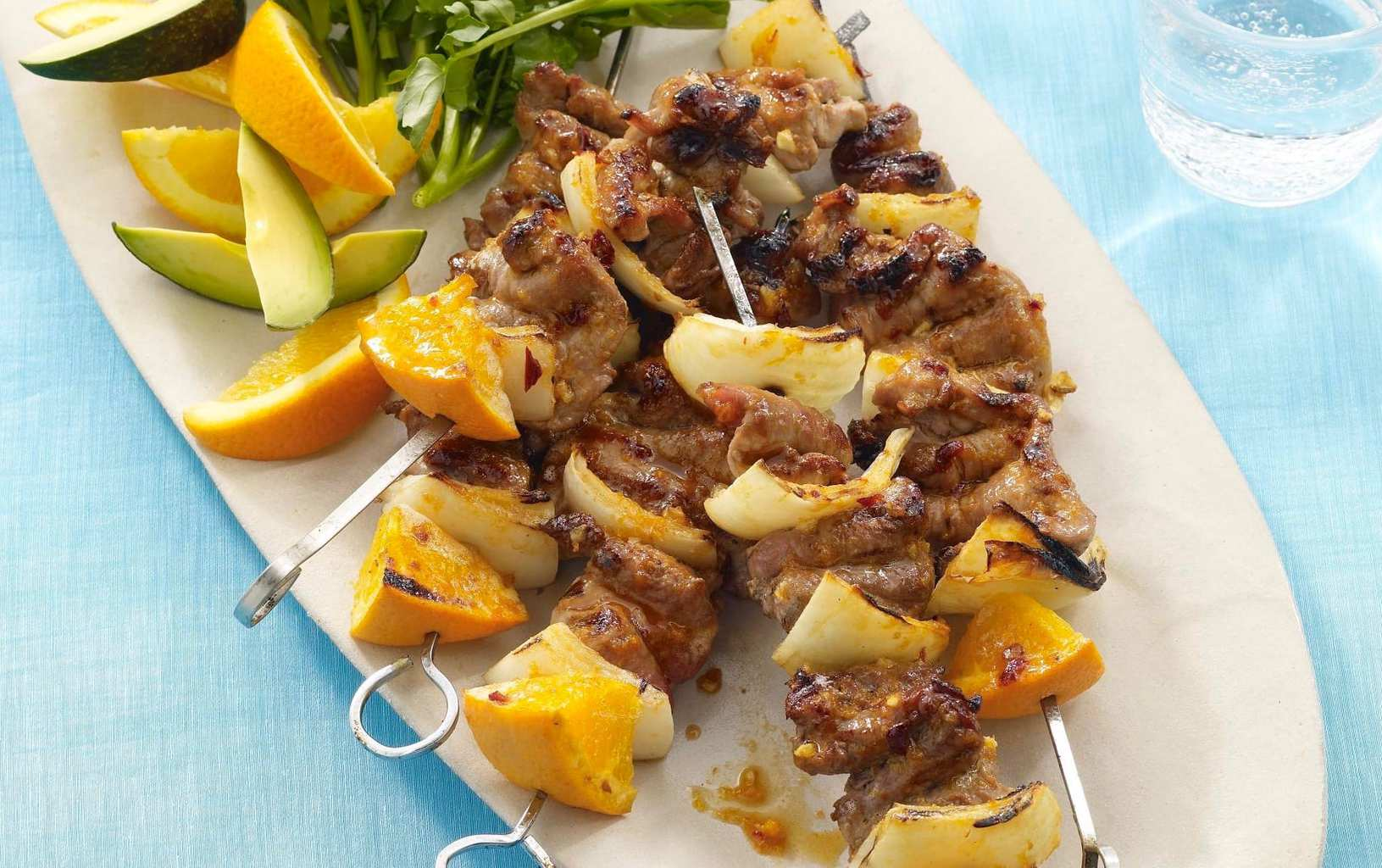 yummy and easy home recipe for grilled pork kabobs and delicious orange chipotle