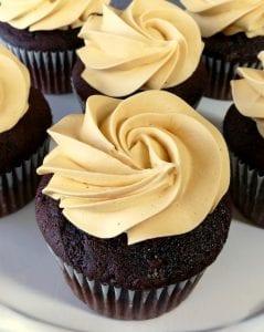 chocolate cupcakes with caramel icing close up