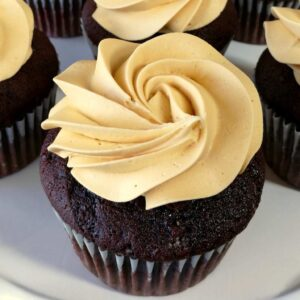 chocolate cupcakes with caramel icing close up