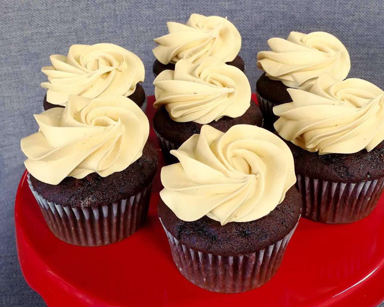 chocolate caramel cupcakes with caramel icing close up