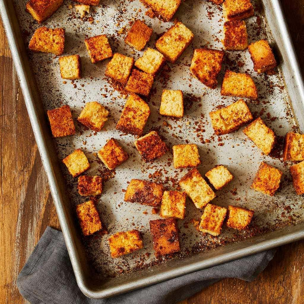 Chili croutons on sheet tray