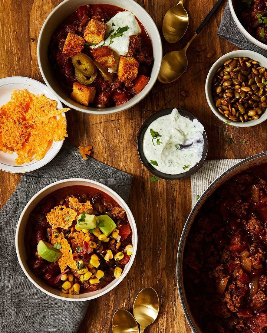 the best chili toppers including cilantro cream