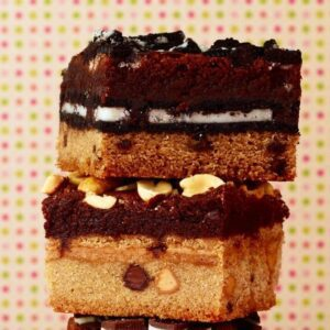 the ultimate cookie stuffed brownies close up