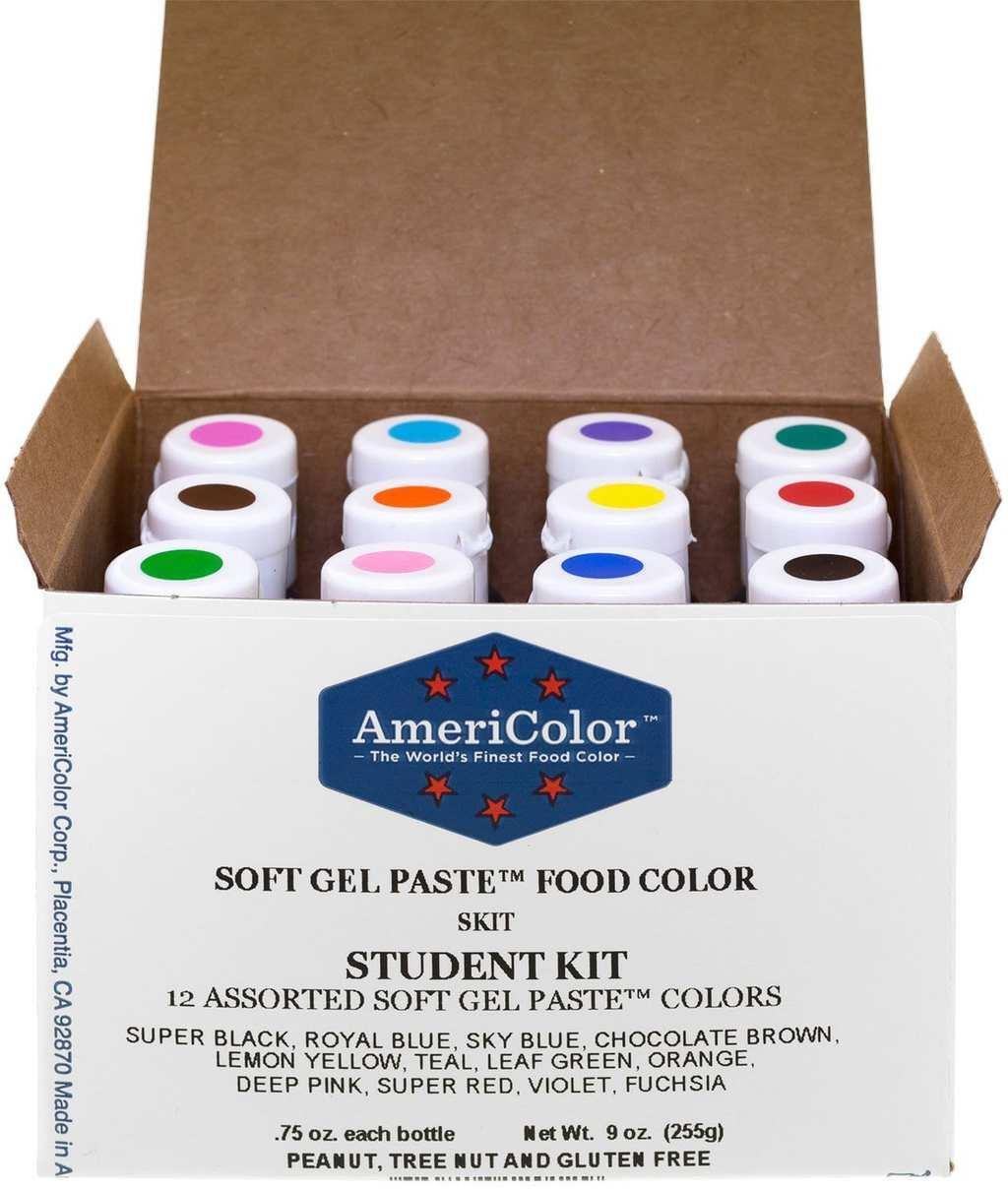 Food Coloring AmeriColor Student - Kit 12 .75 Ounce Bottles Soft Gel ...