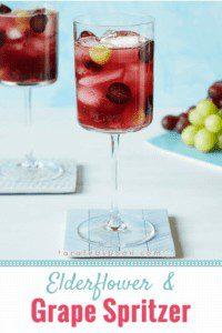 elderflower and grape spritzer pin image