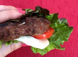 Grilled Italian Bunless Burger close up recipe image
