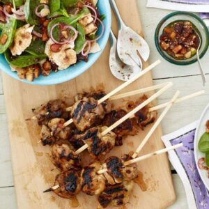 grilled pita salad lemon chicken kabobs recipe image