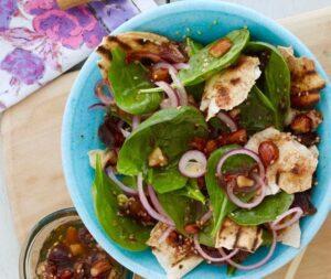 grilled pita salad lemon chicken kabobs recipe image