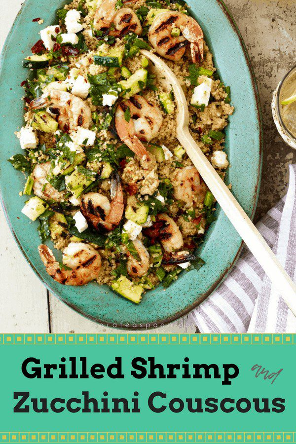 Grilled shrimp with zucchini and couscous pin