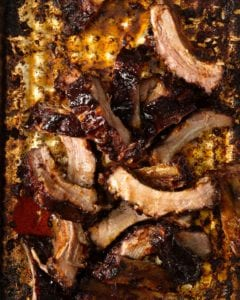 overhead shot of a pile of Kansas City BBQ Ribs