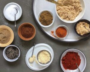 over head shot of ingredients for 10 ingredient bbq rub