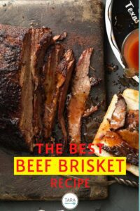 texas beef brisket with spicy sauce pin