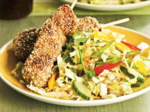 close up of Sesame Chicken Skewers with Ginger Slaw