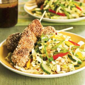 Sesame Chicken Skewers with Ginger Slaw