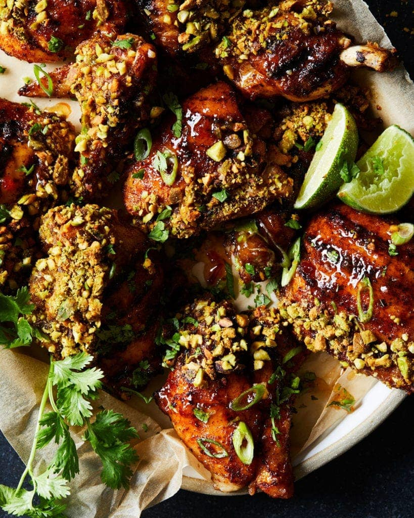 close up on pistachio grilled chicken recipe