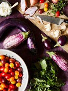 Tomato and Eggplant pasta ingredients