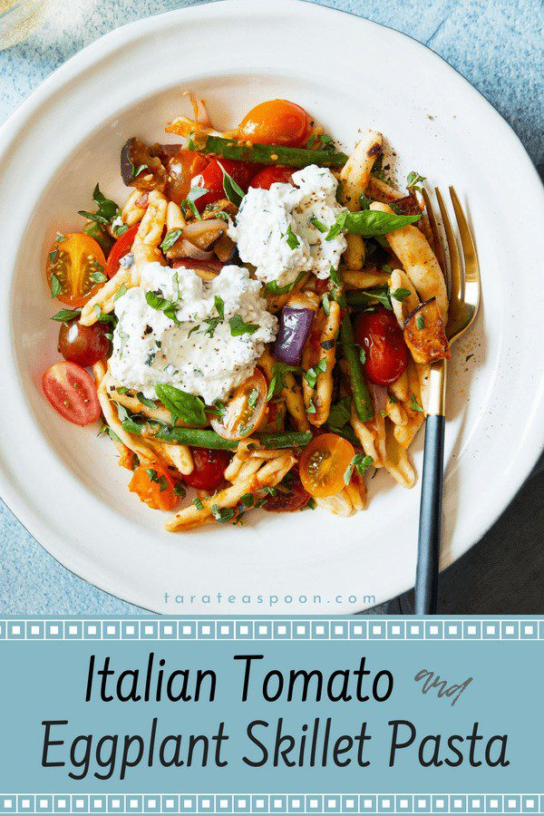 Home recipe for Italian tomato and eggplant skillet pasta on Pinterest