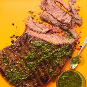 grilled flank steak with herb salsa verde
