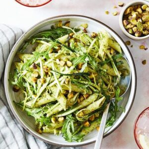 pistachio pesto pasta over head photo