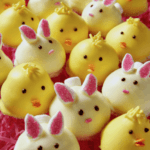 yellow chick and bunny cookies in pink easter grass