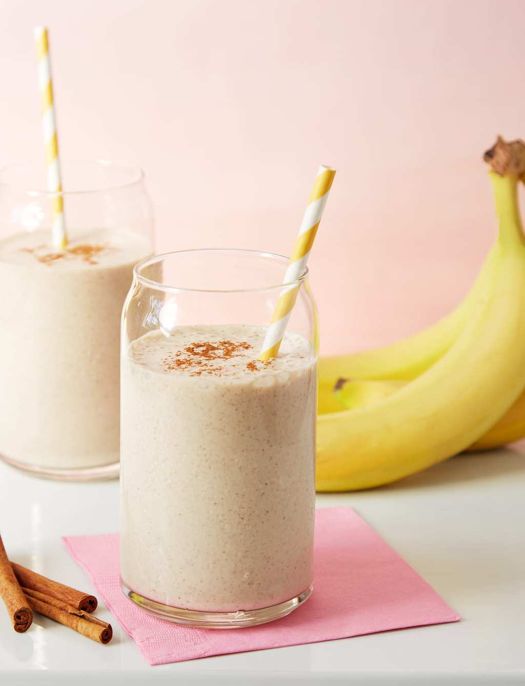 banana smoothie healthy smoothie with bananas and a pink napkin