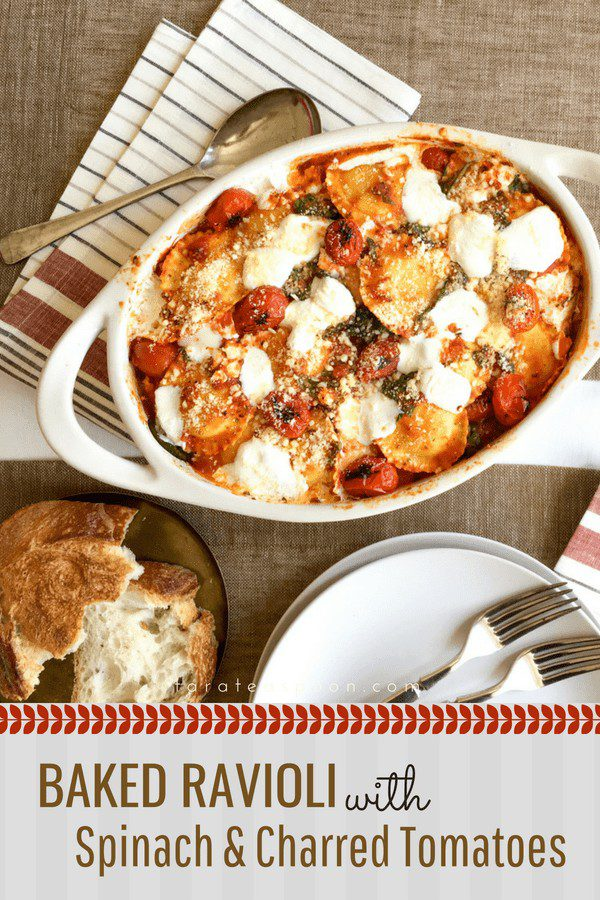 baked ravioli with spinach and charred tomatoes pin