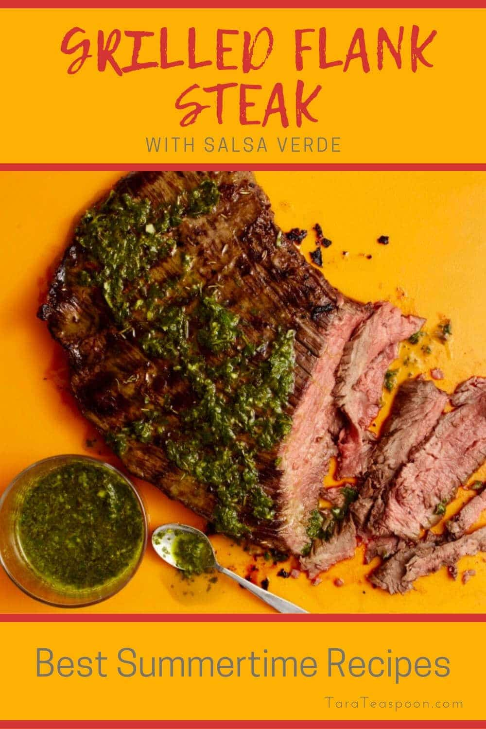 Grilled flank steak and green salsa on orange board
