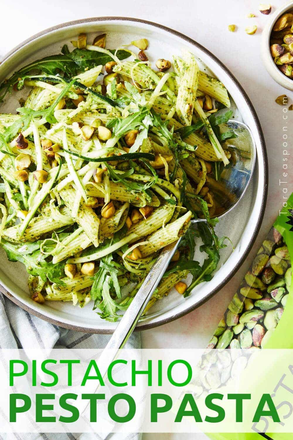 Pistachio pesto pasta in a bowl pin