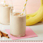 protein booster almond and banana smoothie pin image