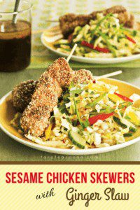 Sesame Chicken Skewers with Ginger Slaw pin image