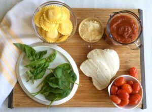 ingredients for Baked Ravioli with Spinach and Charred Tomatoes