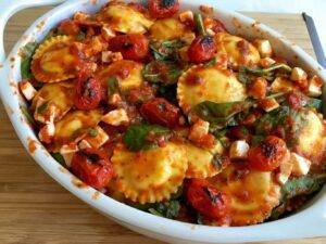 Baked Ravioli with Spinach and Charred Tomatoes