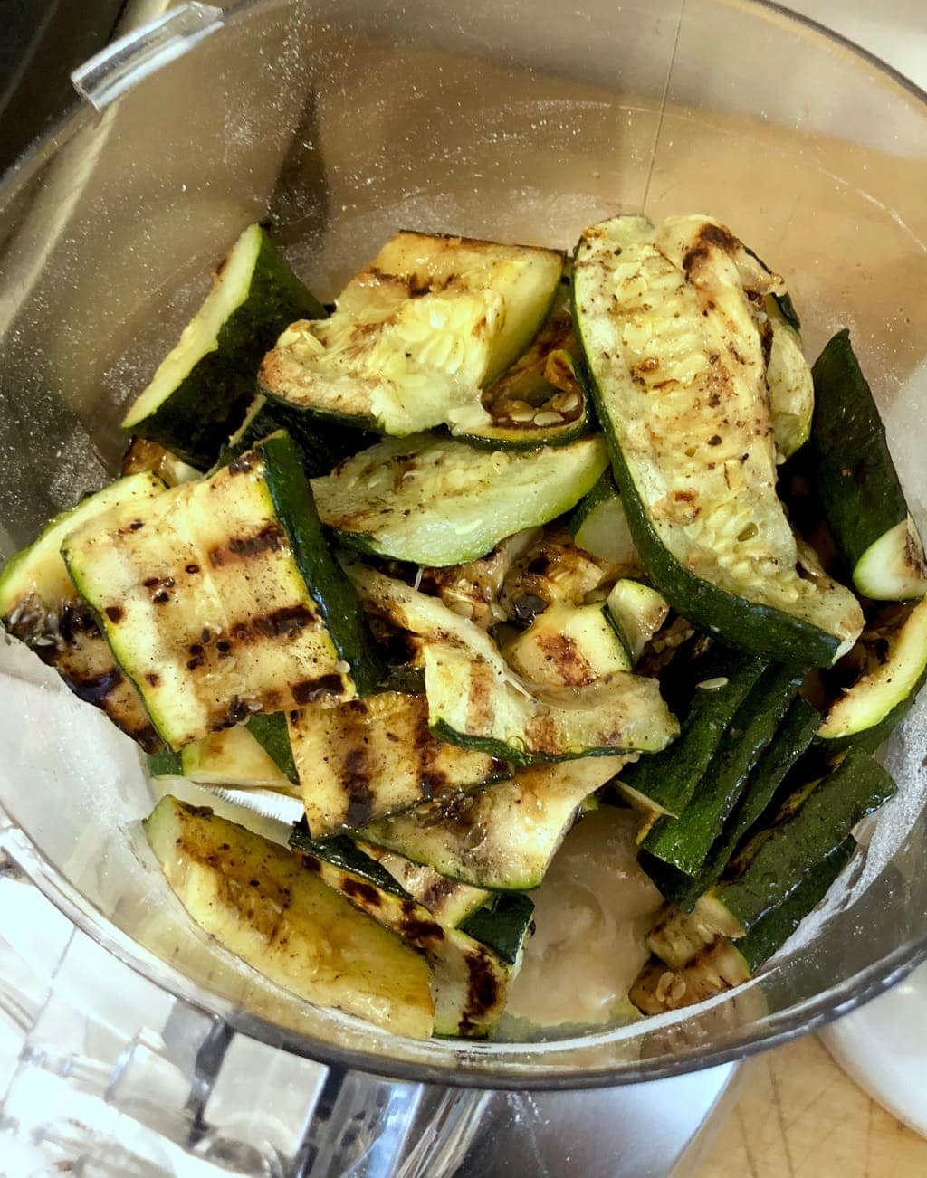 grilled zucchini in the food processor with tahini
